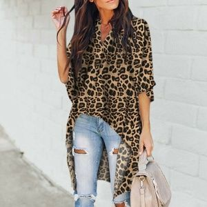 Tops - Womens Animal Print V Neck Blouse Loose Tunic Top